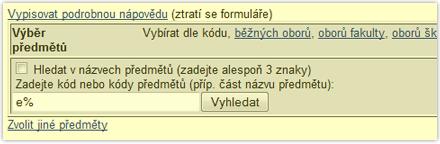 Vyplňte prefix a stiskněte 'Vyhledat', vnásledující tabulce vyberete předměty, které chcete editovat, např. 'Všechny'.