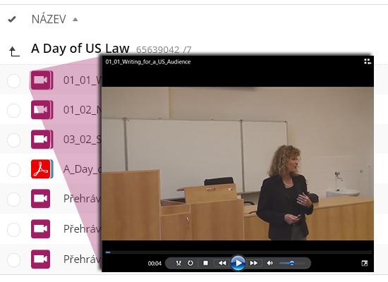 Záznamy setkání studentů prostřednictvím videokonferencí jsou dostupné ve studijních materiálech