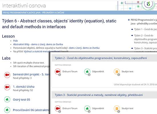Jedna osnova obsahuje základní informace k hodnocení, druhá podrobný harmonogram s odkazy a materiály