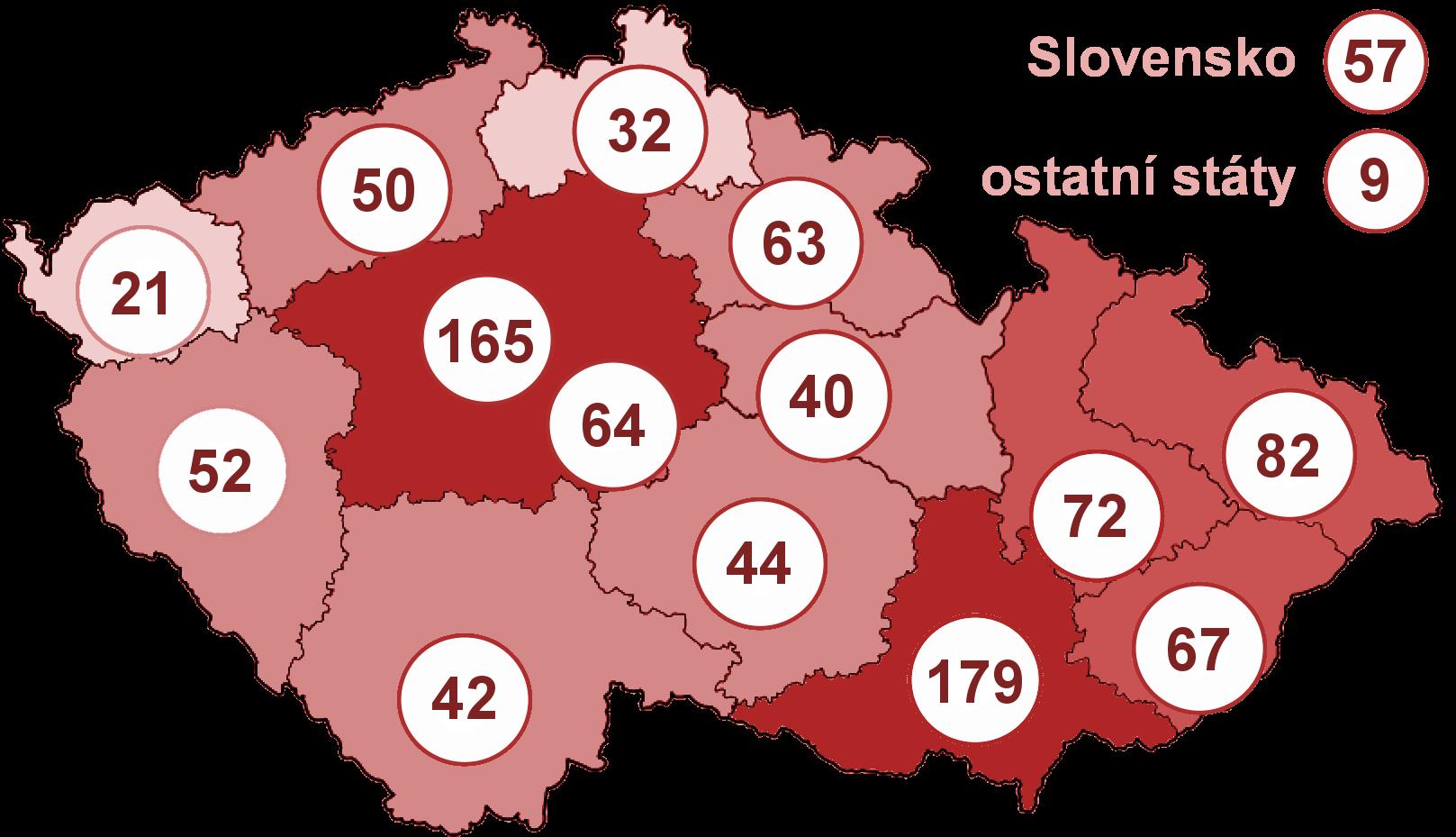 Rozložení aktuálního počtu účastníků studie podle místa jejich původu. Grafika: Pavel Lízal